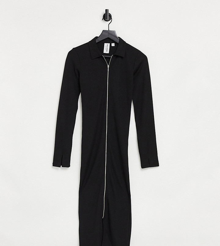 Collusion long sleeve midi zip front dress in black