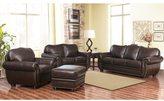 ABBYSON LIVING Richfield 4-Piece Premium Top-grain Leather Sofa, Loveseat, Armchair, Ottoman Set
