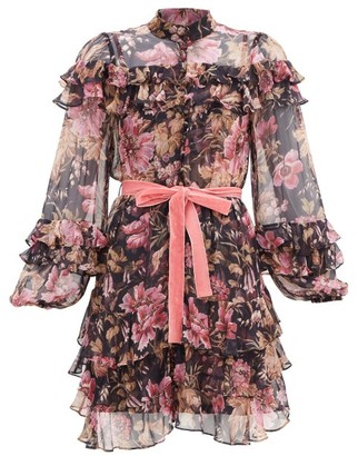 Zimmermann Lucky Floral-print Silk-chiffon Mini Dress - Pink Multi