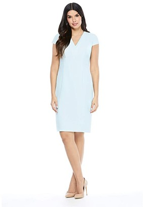 Maggy London Triple V-Neck Sheath (Sky Blue) Women's Dress