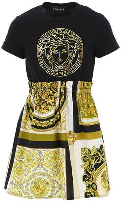 Versace Girl's Baroque Medusa Short-Sleeve Dress, Size 8-14