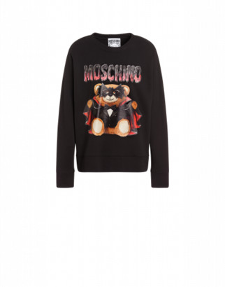 Moschino Cotton Sweatshirt With Bat Teddy Bear Man Black Size 44 It - (34 Us)