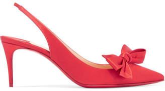 Christian Louboutin Yasiling 70 Bow-embellished Satin Slingback Pumps - Red