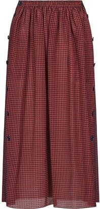 Fendi Gingham Check Silk Skirt