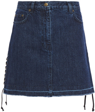 McQ Lace-up Frayed Denim Mini Skirt