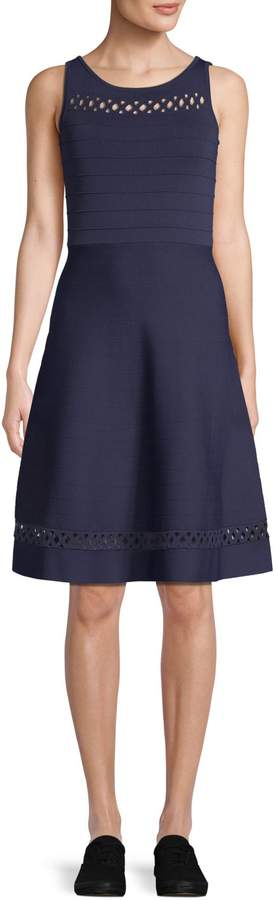 French Connection Kai Crepe Knit Sleeveless Fit-and-Flare Dress