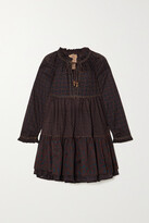 Thumbnail for your product : Yvonne S Hippy Topstitched Printed Cotton-voile Mini Dress - Brown