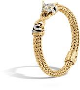 John Hardy Women's Legends Macan 7.5MM Station Bracelet, 18K Gold with Pave White Diamond (0.37ct)