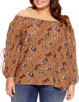 Boutique + + Long Sleeve Smocked Off the Shoulder Woven Blouse Plus