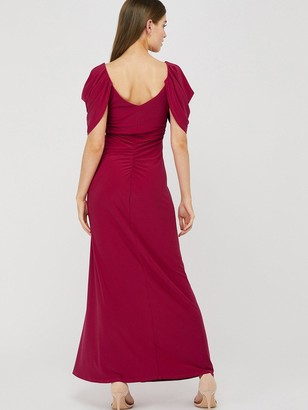 Monsoon Cynthia Ruched Sleeve Maxi Dress - Pink