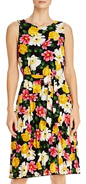 T Tahari Pleated Floral Tie-Waist Dress
