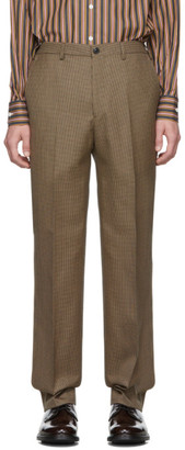 Cobra S.C. Brown and Black Wool Houndstooth Classic Trousers