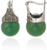 Lord & Taylor Sterling Silver & Marcasite Green Aventurine Drop Earrings