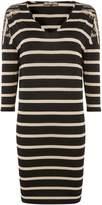 Biba Striped long sleeve stud shoulder tunic