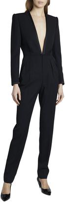 Saint Laurent Deep V-Neck Long-Sleeve Suit Styled Jumpsuit