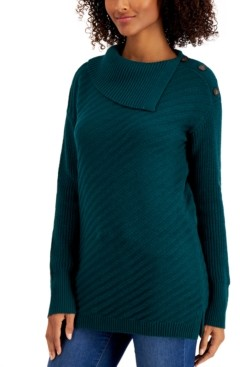 Style&Co. Style & Co Ribbed Button-Detail Tunic Sweater, Regular & Petite Sizes, Created for Macy's