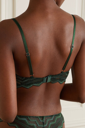 Coco de Mer Muse Simone Embroidered Stretch-lace Underwired Soft-cup Plunge Bra - Green