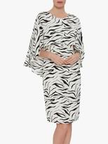 Gina Bacconi Riona Zebra Print Dress, White/Black