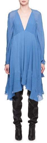 Chloé Deep-V Crinkled Silk Cape Dress
