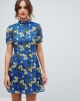 Asos Design DESIGN bright floral crochet lace shift mini dress
