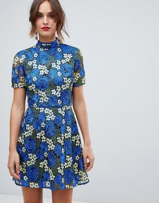 Asos Design DESIGN bright floral crochet lace shift mini dress-Multi