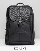Reclaimed Vintage Inspired Studded Leather Backpack In Black