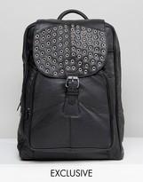 Reclaimed Vintage Studded Leather Backpack In Black