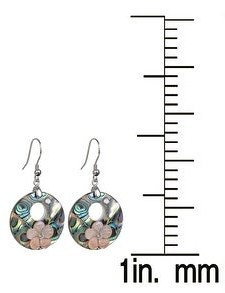 V3 Jewelry Sterling Silver with Abalone Shell and Pink Shell Flower Earrings