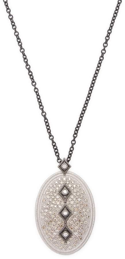 Armenta Women's Sterling Silver Champagne Diamond Drop Necklace