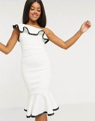 Lipsy x Abbey Clancy one shoulder ruffle body-conscious dress with contrast trim in white