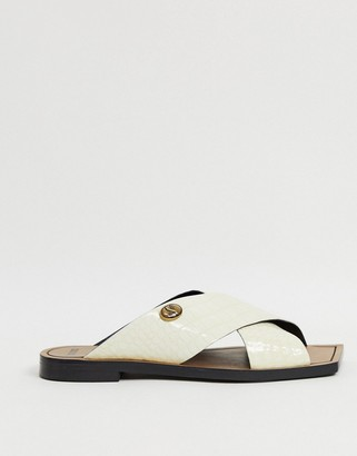 Bronx square toe slip on mules in white leather