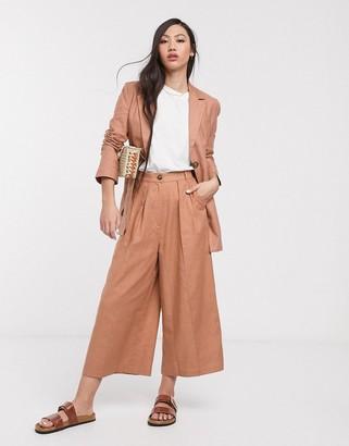 Splendid Asos Design ASOS DESIGN linen suit culottes-Brown