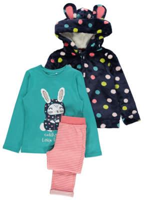 George Navy Polka Dot Zip-Up Dressing Gown and Pyjamas Set