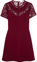 Sandro Ravel embroidered lace-paneled crepe mini dress