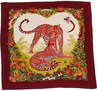 One Kings Lane Vintage Hermes Jungle Love Cashmere shawl Dallet - Vintage Lux - red/green/beige