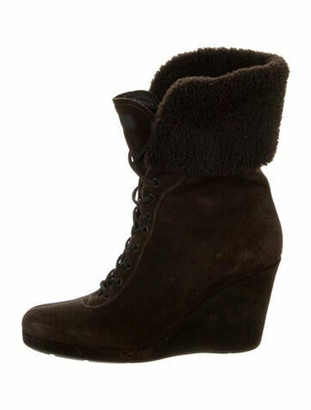 Prada Suede Lace-Up Boots Brown
