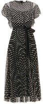 RED Valentino Daisy-embroidered Tulle Dress - Womens - Black