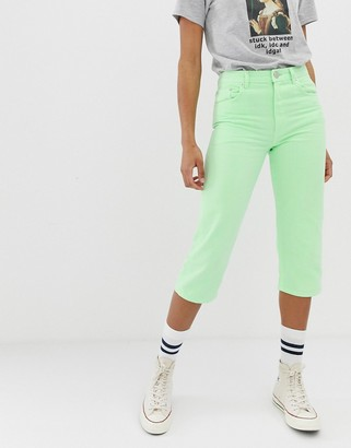 ASOS DESIGN florence authentic straight leg cropped jeans in washed neon lime