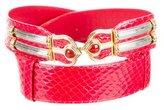 Judith Leiber Snakeskin Embellished Belt