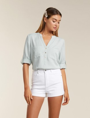 Forever New Mika Popover Roll Sleeve Shirt - Pale Sage - 10