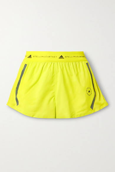 Thumbnail for your product : adidas by Stella McCartney Truepace Mesh-paneled Recycled Ripstop Shorts - Bright yellow