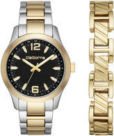 Claiborne Mens Two Tone Watch Boxed Set-Clm9008