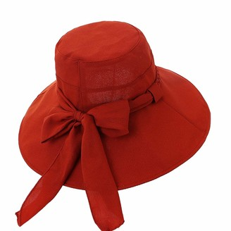 Xinqiao Womens Sun Hat Summer Bucket Hats Wide Brim Bowknot Cap with String (Red)