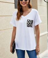 Suvimuga Women's Tee Shirt Dresses White - White Leopard Print Pocket V-Neck Tee - Women