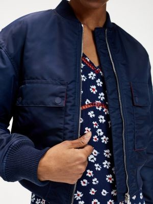 Tommy Hilfiger Gathered Detail Relaxed Fit Bomber Jacket