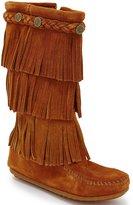 Minnetonka 3-Layer Fringe Stud Girls Boots