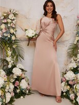 Thumbnail for your product : Chi Chi London One Shoulder Satin Maxi Bridesmaid Dress - Champagne