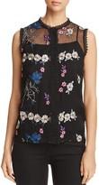 T Tahari Laureen Embroidered Floral Blouse