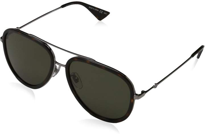 Gucci Men's Anti-reflective GG0062S-002-57 Aviator Sunglasses