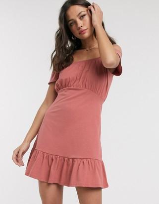 ASOS DESIGN off shoulder mini sundress with pep hem in rose